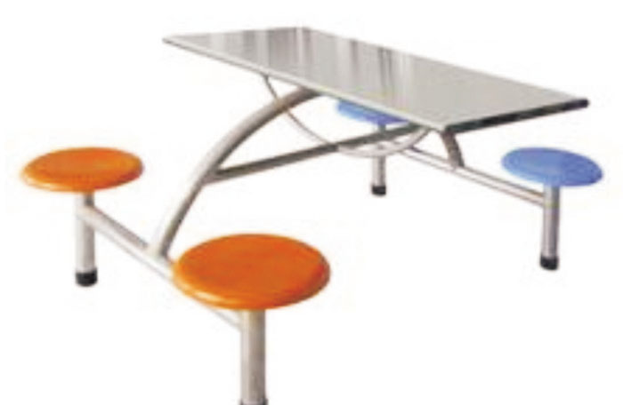 不锈钢面四人餐桌椅